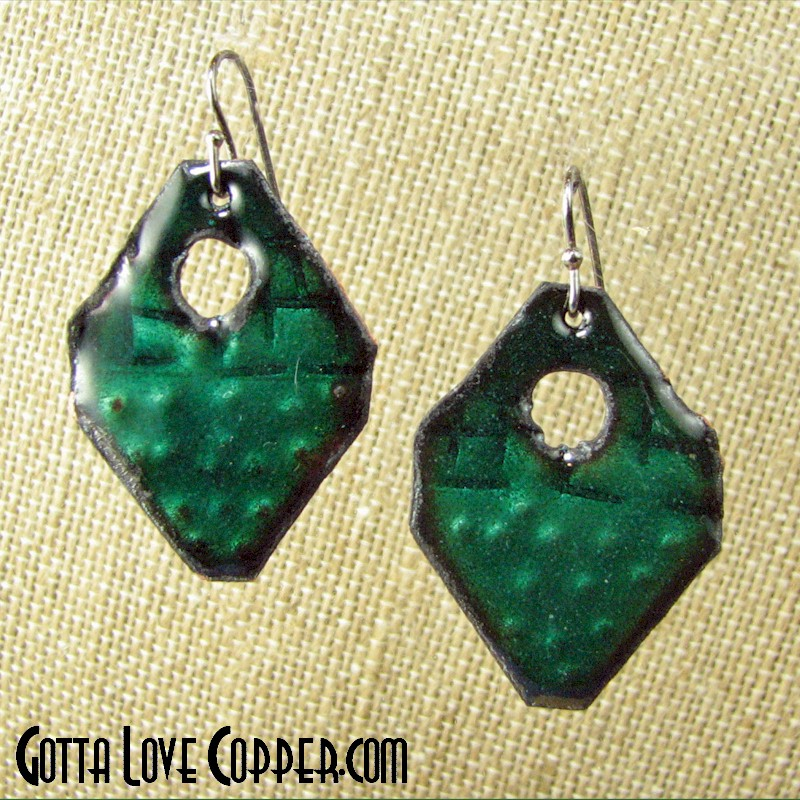 Green Enameled Earrings