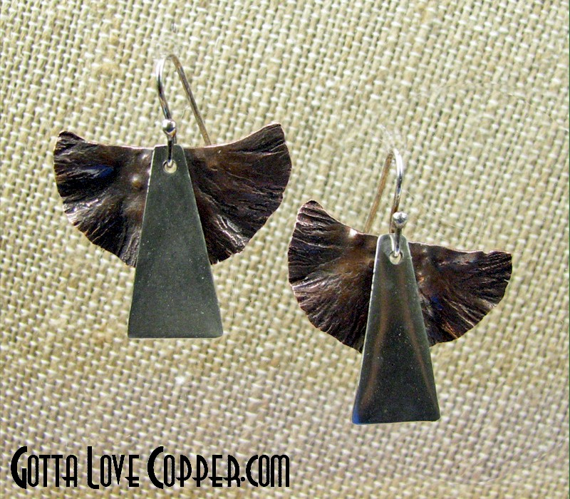 Swinging Sterling and Copper Angel Earrings