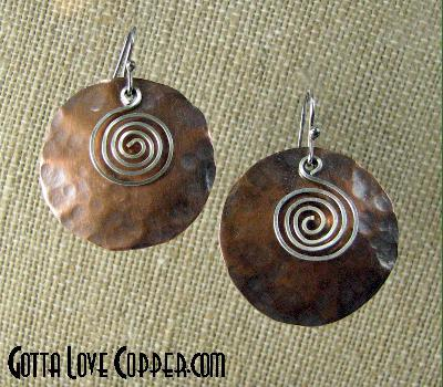 Disk Earrings with Swirly Wires