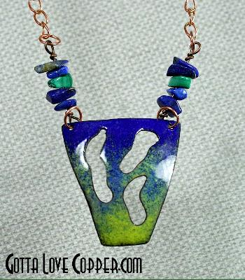 Enameled Negative-Space Copper Pendant with Malachite & Sodalite Beads