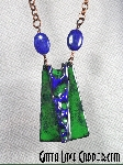 Enameled Wedge Pendant with Lapis Beads