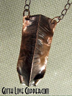 Wildly Folded Copper Pendant