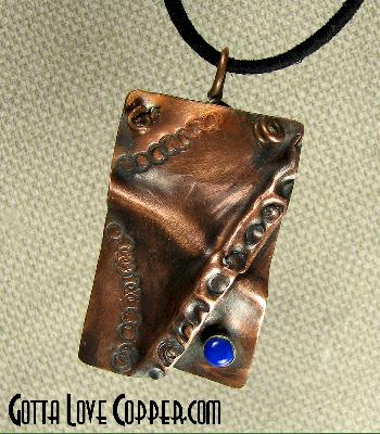 Crazy Folded Copper Pendant with Lapis Bead