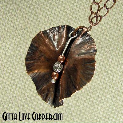 Leaf Pendant with Copper & Pewter Beads