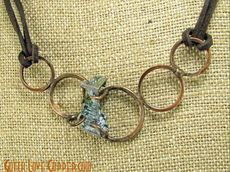 Rings with Bismuth Crystal Pendant