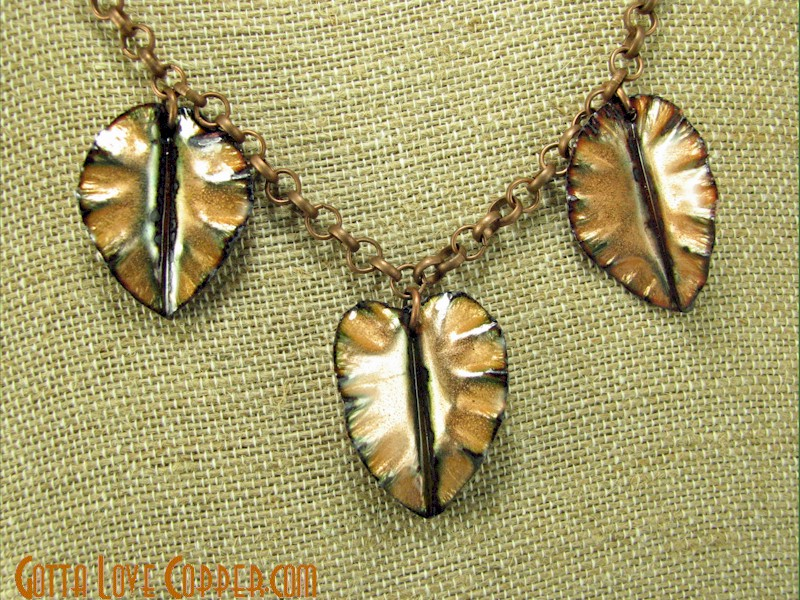 Three Enameled Leaves Pendant