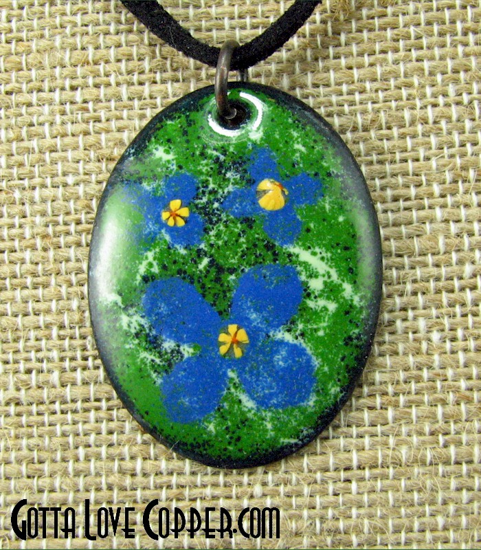 Enameled Flowers Pendant
